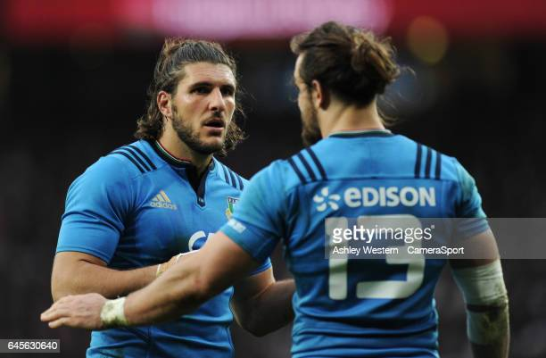 Italy's Giovanbattista Venditti with Michele Campagnaro during the RBS Six Nations Championship match between England and Italy at Twickenham Stadium...