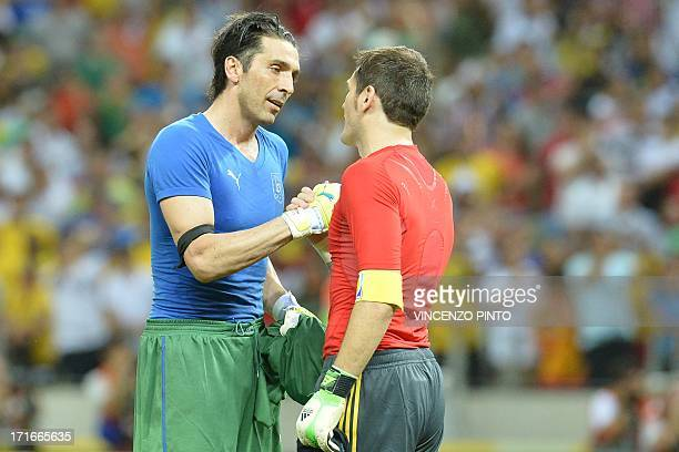Italy's goalkeeper Gianluigi Buffon and Spain's goalkeeper Iker Casillas congratulate each other at the end of their FIFA Confederations Cup Brazil...