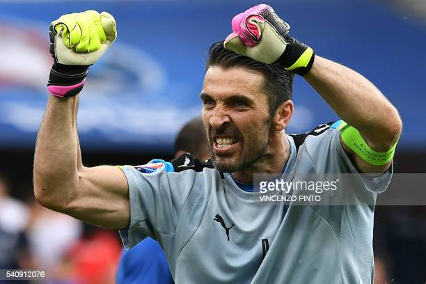 TOPSHOT Italy's goalkeeper Gianluigi Buffon celebrates after the Euro 2016 group E football match between Italy and Sweden at the Stadium Municipal...