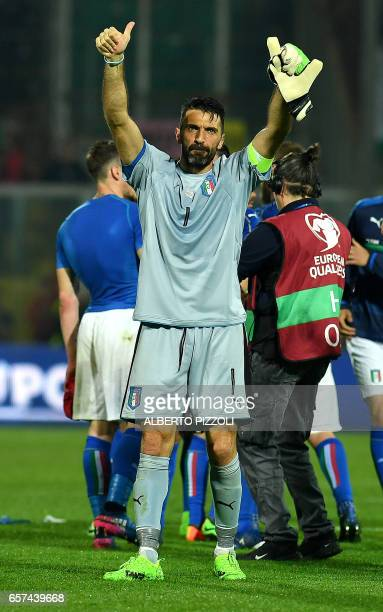 Italy's goalkeeper Gianluigi Buffon greets fans at the end of the FIFA World Cup 2018 qualification football match between Italy and Albania on March...