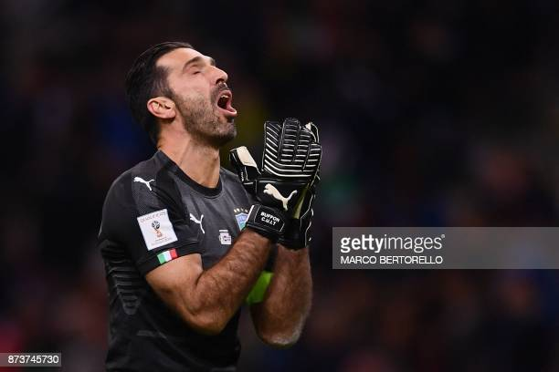 Italy's goalkeeper Gianluigi Buffon reacts during the FIFA World Cup 2018 qualification football match between Italy and Sweden on November 13 2017...