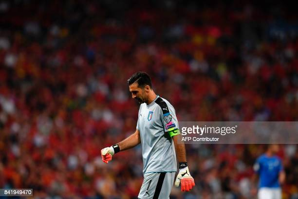 Italy's goalkeeper Gianluigi Buffon walks on the pitch during the World Cup 2018 qualifier football match Spain vs Italy at the Santiago Bernabeu...