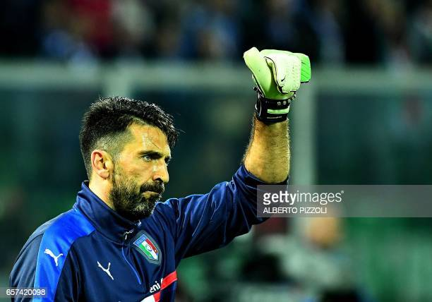 Italy's goalkeeper Gianluigi Buffon warms up before the FIFA World Cup 2018 qualification football match between Italy and Albania on March 24 2017...