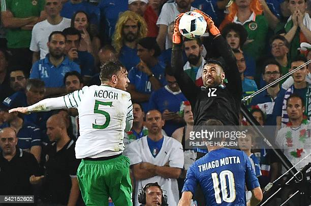 Italy's goalkeeper Salvatore Sirigu makes a save during the Euro 2016 group E football match between Italy and Ireland at the PierreMauroy stadium in...
