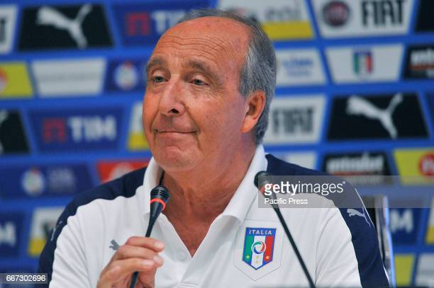 Italy's head coach Giampiero Ventura during the press conference at the Coverciano Training Center for the third training camp dedicated to emerging...