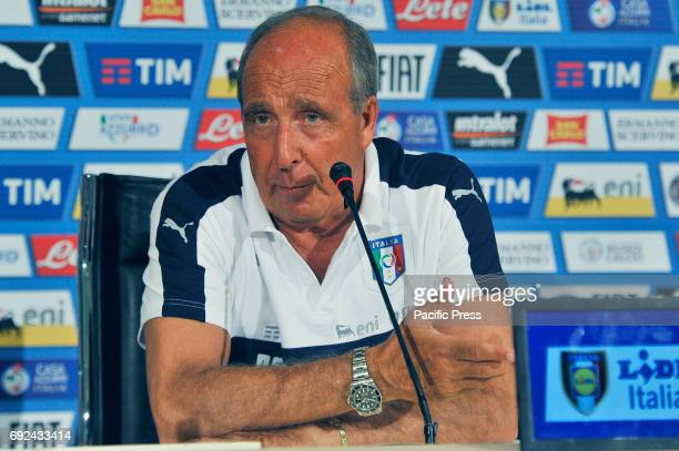 Italy's head coach Giampiero Ventura during the press conference at the Coverciano Training Center The Italian national team will face in a friendly...