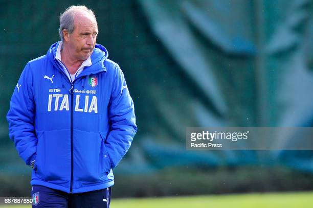 Italy's head coach Giampiero Ventura during the training session at the Coverciano Training Center for the third training camp dedicated to emerging...