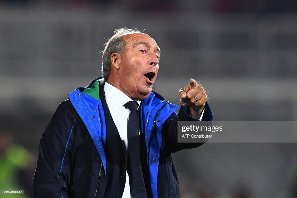 Italy's head coach Gian Piero Ventura reacts during the FIFA World Cup 2018 qualification football match between Albania and Italy at Loro Borici Stadium in Shkoder on October 9, 2017. / AFP PHOTO / Dimitar DILKOFF