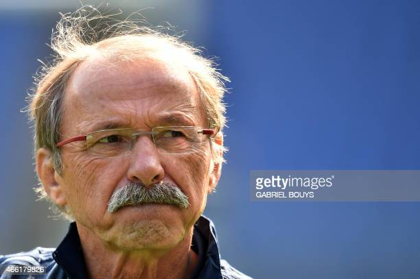 Italy's head coach Jacques Brunel from France attends the captain's run of his team on March 14 at the Olympic Stadium in Rome on the eve of the Six...