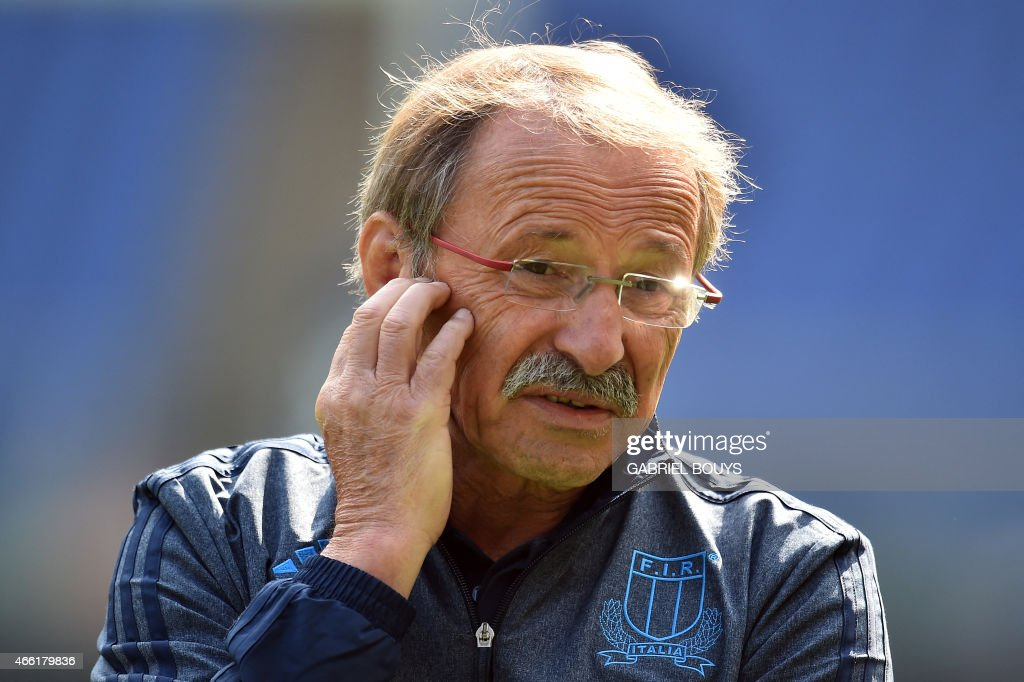 Italy's head coach <a gi-track='captionPersonalityLinkClicked' href=/galleries/search?phrase=Jacques+Brunel&family=editorial&specificpeople=557558 ng-click='$event.stopPropagation()'>Jacques Brunel</a> from France attends the captain's run of his team, on March 14, 2015, at the Olympic Stadium in Rome, on the eve of the Six Nations International Rugby Union match between Italy and France.