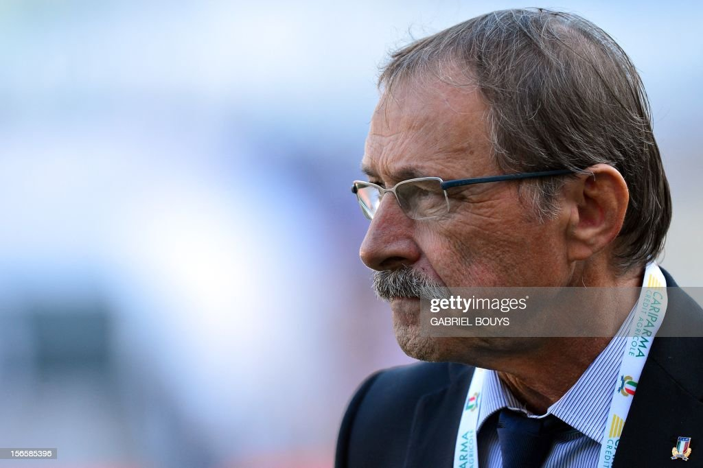 Italy's head coach Jacques Brunel of France arrives on the field prior the International Rugby Union match between Italy and New Zealand at the Olympic Stadium in Rome on November 17, 2012.