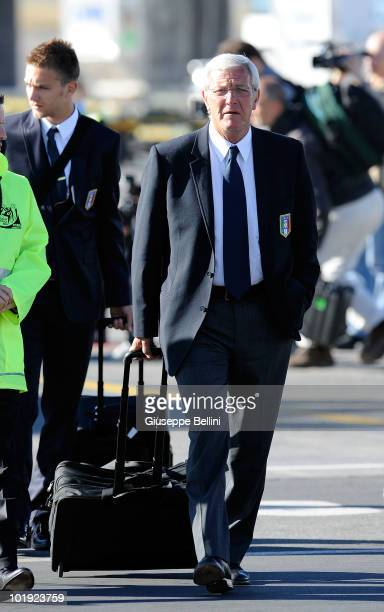Italy's head coach Marcello Lippi walks on during the Italy Arrive for 2010 FIFA World Cup at OR Tambo International Airport on June 9 2010 in...