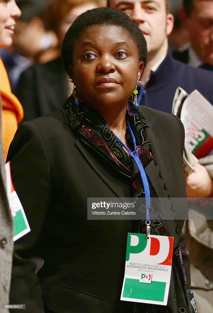 Italy's Integration Minister Cecile Kyenge attends the Italian Social Democratic Party PD National Assembly on December 15, 2013 in Milan, Italy. Matteo Renzi won the PD primary elections with 68% of votes, becoming the leader of the Party.
