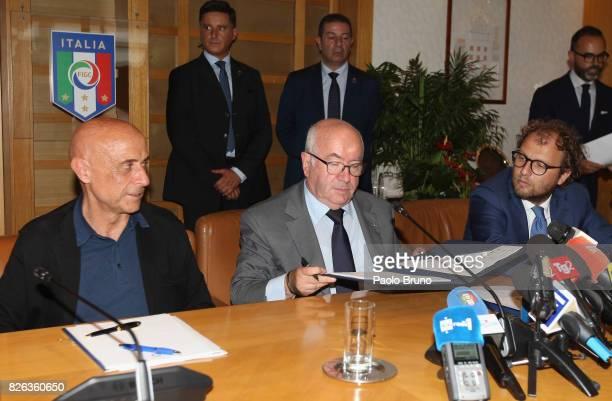 Italy's Interior Minister Marco Minniti FIGC President Carlo Tavecchio Italian Sport Minister Luca Lotti attend the Italian football federation press...