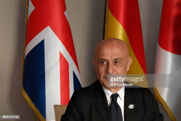 Italy's Interior Minister Marco Minniti looks on as he attends before a working session at the G7 summit of Interior Ministers with European Union...