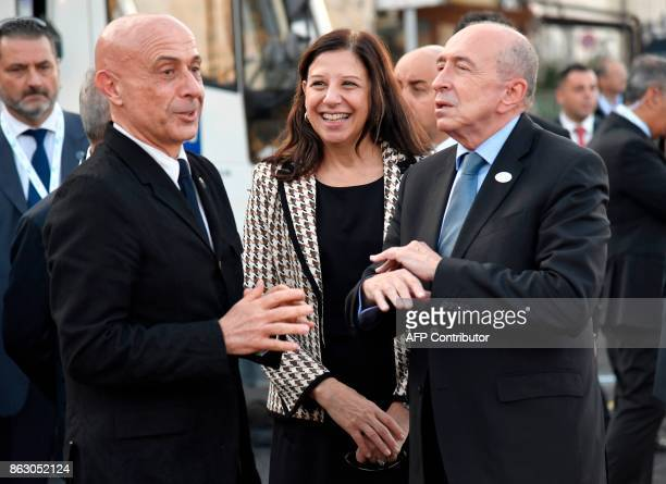 Italy's Interior Minister Marco Minniti speaks with US Acting Secretary of the Department of Homeland security Elaine Duke and France's Interior...