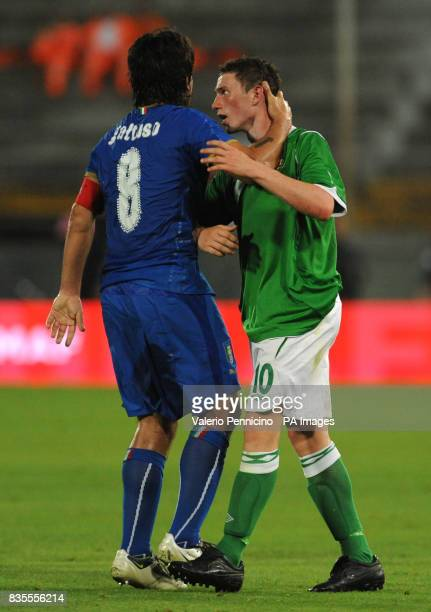 Italy's Ivan Gennaro Gattuso and Northern Ireland's Corry Evans in action during the International Friendly at the Arena Garibaldi Stadium Pisa Italy
