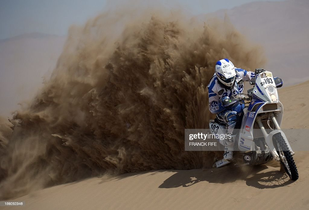 Italy's Juan Carlos Carignani competes in the Stage 6 of the 2013 Dakar Rally between Arica and Calama, Chile, on January 10, 2013. The rally is taking place in Peru, Argentina and Chile from January 5 to 20.