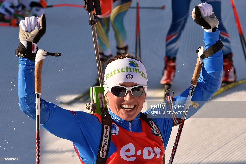 Italy's <a gi-track='captionPersonalityLinkClicked' href=/galleries/search?phrase=Karin+Oberhofer&family=editorial&specificpeople=6690558 ng-click='$event.stopPropagation()'>Karin Oberhofer</a> reacts after the Women 12,5 km Mass Start at the IBU Biathlon World Championship in Kontiolahti, Finland on March 15, 2015. Ukraine's Valj Semerenko won the competition, Germany's Franziska Preuss placed second and Italy's <a gi-track='captionPersonalityLinkClicked' href=/galleries/search?phrase=Karin+Oberhofer&family=editorial&specificpeople=6690558 ng-click='$event.stopPropagation()'>Karin Oberhofer</a> placed third. AFP PHOTO / KIRILL KUDRYAVTSEV