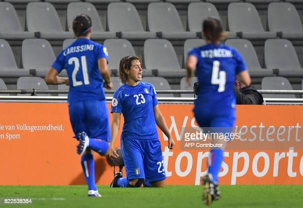Italy's Katja Schroffenegger celebrates after scoring Italy's third goal during the UEFA Women's Euro 2017 football match between Sweden and Italy at...