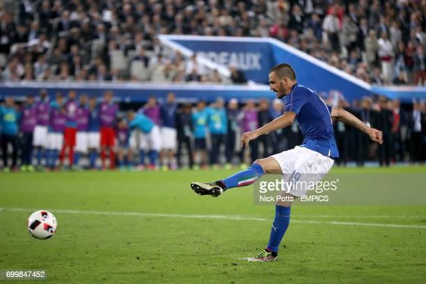 Italy's Leonardo Bonucci misses his penalty in the shootout