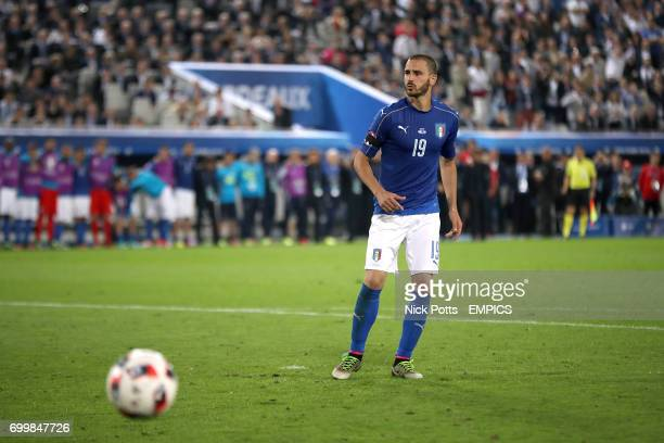 Italy's Leonardo Bonucci reacts after missing his penalty in the shootout