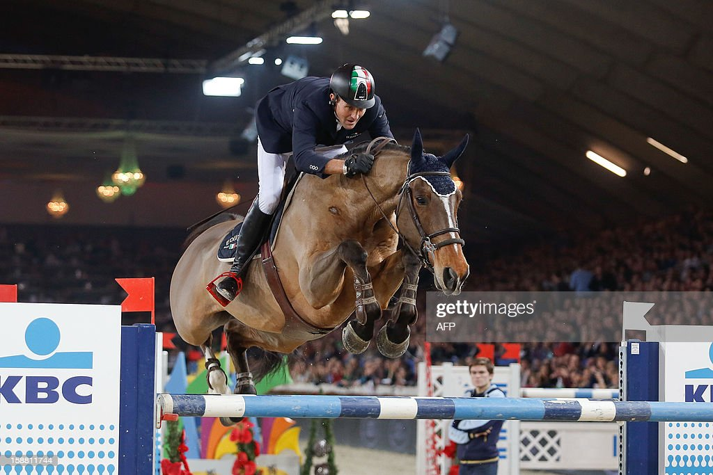 OUT +++++ Italy's Luca Maria Moneta competes riding Neptune Brecourt during the 'Memorial Eric Wauters' equestrian FEI World Cup Jumping competition, on December 30, 2012, in Mechelen. BELGA /