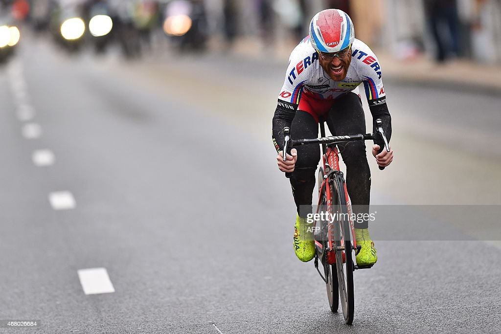 Italy's <a gi-track='captionPersonalityLinkClicked' href=/galleries/search?phrase=Luca+Paolini&family=editorial&specificpeople=774515 ng-click='$event.stopPropagation()'>Luca Paolini</a> of Team Katusha competes in the 77th edition of the Gent-Wevelgem one-day cycling race from Deinze to Wevelgem on March 29, 2015. AFP PHOTO / BELGA / TIM DE WAELE OUT ==