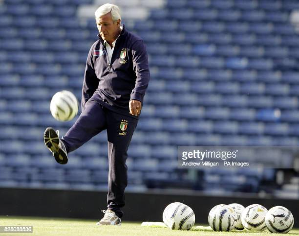 Italy's manager Marcello Lippi during a training session at Hampden Park Glasgow Friday September 2 2005 Italy play Scotland in a World Cup qualifier...