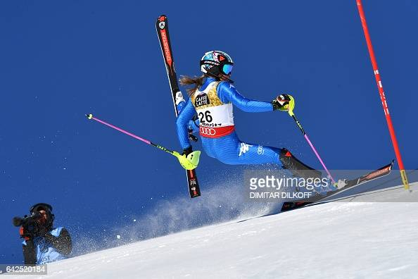 TOPSHOT Italy's Manuela Moelgg falls during the first run of the women's slalom race at the 2017 FIS Alpine World Ski Championships in St Moritz on...