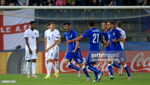 Italy's Marco Benassi celebrates scoring his side's second goal of the game