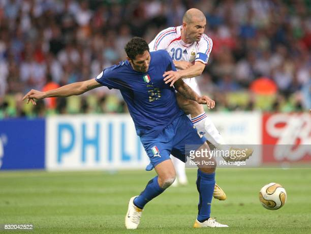 Italy's Marco Materazzi and France's Zinedine Zidane battle for the ball