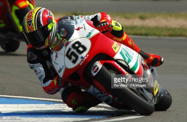 Italy's Marco Simoncelli during the 250cc race