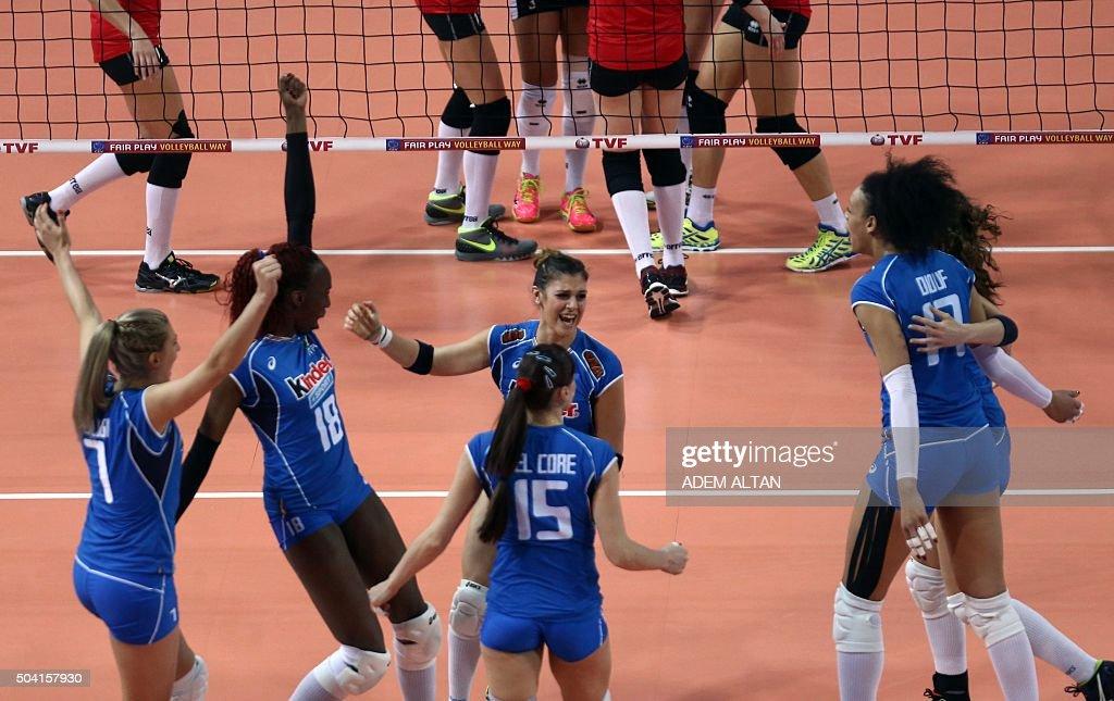 Italy's Martina Guiggi Antonella Del Core Paola Ogechi Egonu Valentina Douf and teammates celebrate after scoring a point during the Women's European...