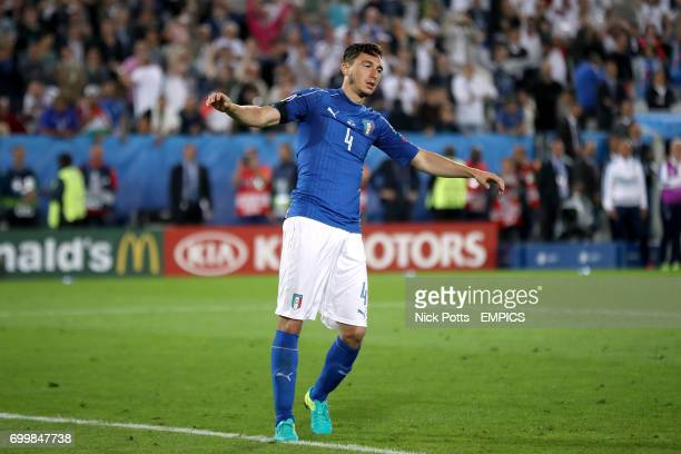 Italy's Matteo Darmian misses his penalty in the shootout