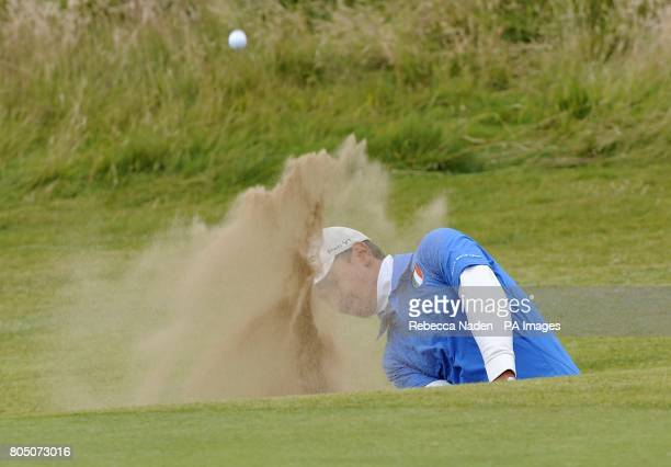 Italy's Matteo Manassero in action during the second day of the Open Championship at Turnberry Golf Club