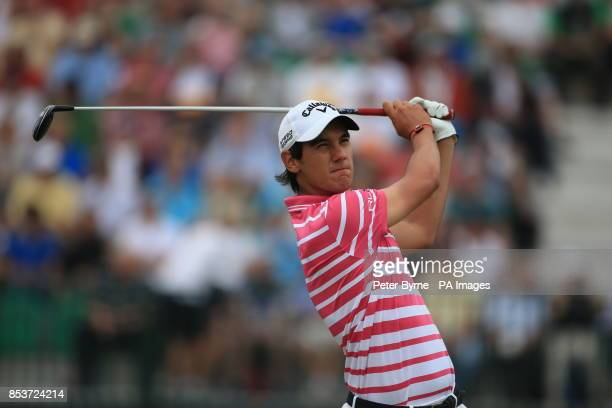 Italy's Matteo Manassero tees off the 4th during day two of the 2014 Open Championship at Royal Liverpool Golf Club Hoylake