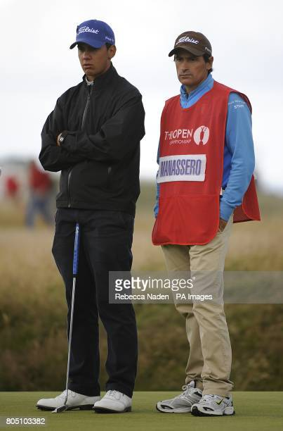Italy's Matteo Manassero with his Caddie Alberto Binagh during the fourth day of the Open Championship at Turnberry Golf Club