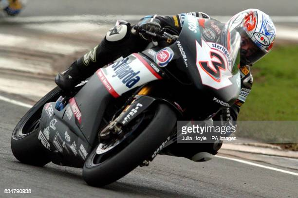 Italy's Max Biaggi goes on to place third during the SBK World Superbikes Race One at Donington Park Castle Donington Derbyshire