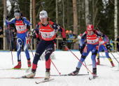 Italy's Michaela Ponza France's Delphine Peretto and Russia's Svetlan Sleptsova power during the women's 4x6 km relay on the last day of Biathlon...