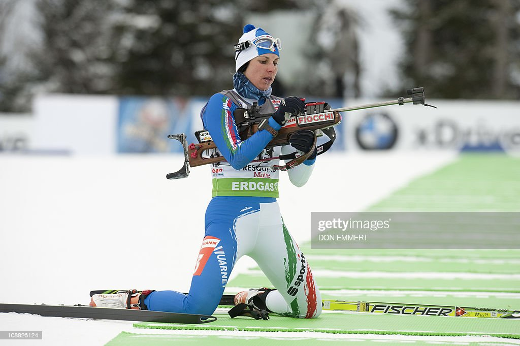 Italy's Michela Ponza competes during the IBU World Cup Biathlon Women's 75km Sprint February 4 2011 in Presque Isle Maine AFP PHOTO/DON EMMERT