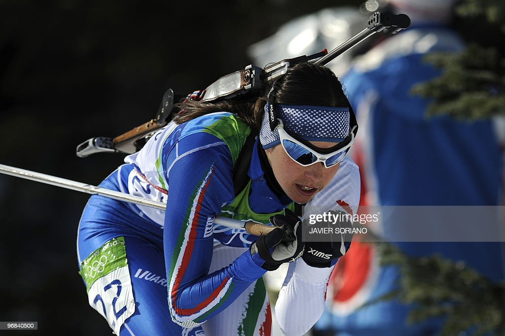 Italy's Michela Ponza competes in the women's Biathlon 15 km individual at the Whistler Olympic Park during the Vancouver Winter Olympics on February...
