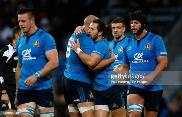 Italy's Michele Campagnaro celebrates scoring his side's second try with Sergio Parisse during the RBS 6 Nations match at Twickenham Stadium London