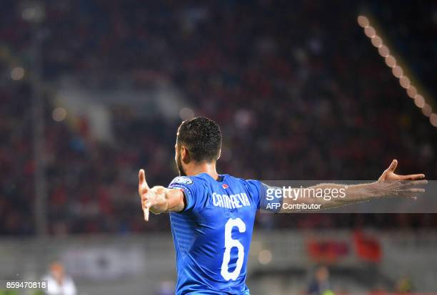 Italy's midfielder Antonio Candreva celebrates after scoring a goal during the FIFA World Cup 2018 qualification football match between Albania and...