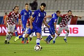 Italy's midfielder Antonio Candreva shoots a penalty during the Euro 2016 qualifying football match between Croatia and Italy on June 12 2015 at the...