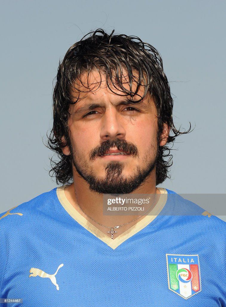 Italy's midfielder <a gi-track='captionPersonalityLinkClicked' href=/galleries/search?phrase=Gennaro+Gattuso&family=editorial&specificpeople=210827 ng-click='$event.stopPropagation()'>Gennaro Gattuso</a> poses on May 27, 2008 during Italy's national football team training session ahead of their Euro 2008, at the National Technical Center of Coverciano near Florence. Italy has been drawn in Group C with France, the Netherlands and Romania for the first round of the Euro 2008 tournament which takes place from June 7-29 and is co-hosted by Austria and Switzerland.
