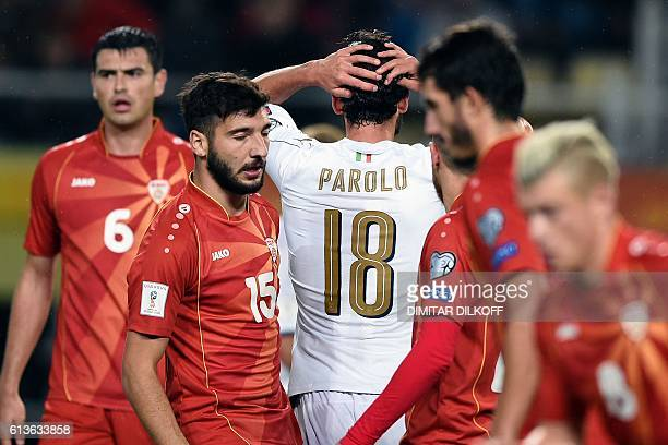 Italy's midfielder Marco Parolo reacts during the FIFA World Cup 2018 qualifying football match between Macedonia and Italy on October 9 2016 at...