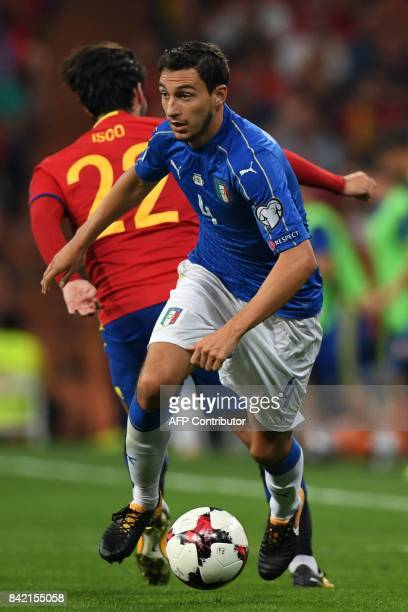 Italy's midfielder Matteo Darmian controls the ball during the World Cup 2018 qualifier football match Spain vs Italy at the Santiago Bernabeu...