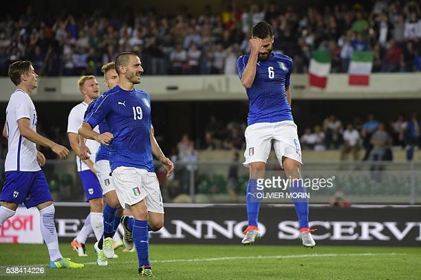 Italy's midfieldrer Antonio Candreva celebrates after scoring a penalty kick during the friendly football match Italy vs Finland on June 6 in Verona...