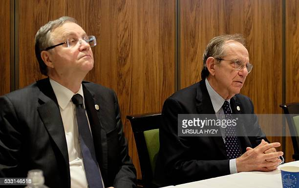 Italy's Minister of Economy and Finance Pietro Carlo Padoan and Governor of the Banca d'Italia Ignazio Visco hold a press conference after the G7...